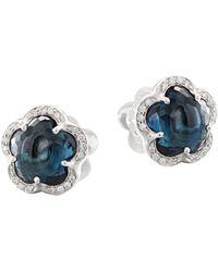 Pasquale Bruni 18k White Gold Ton Joli - Je T'aime Blue Topaz & Diamond Stud Earrings