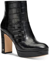Kate Spade Women's Barrett Embossed Leather High Heel Booties - Black