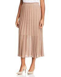 Marina Rinaldi Grace Sheer - Detail Knit Midi Skirt - Brown