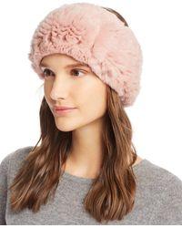 Maximilian Knit Rex Rabbit Fur Headband - Pink