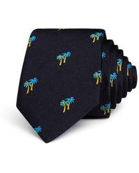Paul Smith Palm Tree Silk Skinny Tie - Black