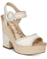 Sam Edelman Women's Lillie Espadrille Wedge Platform Sandals - White
