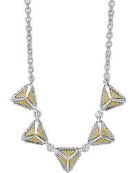 Lagos Sterling Silver & 18k Yellow Gold Ksl Pyramid Pendant Necklace - Metallic