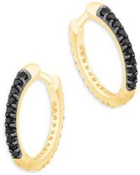 Bloomingdale's - Black & White Diamond Reversible Huggie Hoop Earrings In 14k Yellow Gold - Lyst