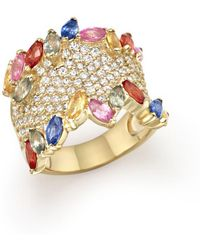 Bloomingdale's - Multicolor Sapphire And Diamond Statement Ring In 14k Yellow Gold - Lyst