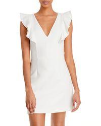 French Connection Whisper Ruffled V - Neck Mini Dress - White