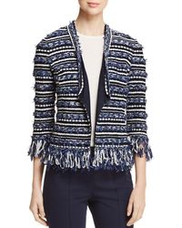 St. John - Lofty Floats Fringe-trimmed Knit Jacket - Lyst