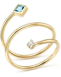 Zoe Chicco - 14k Yellow Gold Diamond And Aquamarine Wrap Ring - Lyst