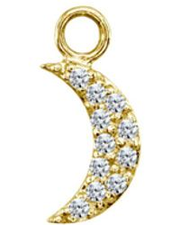 Aqua Sparkly Half Moon Charm In 18k Gold - Plated Sterling Silver Or Sterling Silver - Metallic