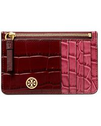 Tory Burch Robinson Colorblock Croc Embossed Leather Card Case - Red