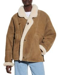 Sandro Sherly Leather & Shearling Coat - Multicolour