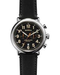 Shinola Men's 43mm Canfield Chronograph Watch, Black/white