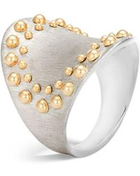 John Hardy - 18k Yellow Gold And Sterling Silver Dot Saddle Ring - Lyst