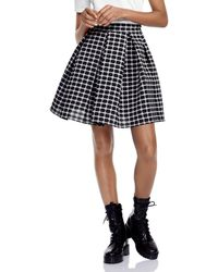 31df30015b Maje - Jungo Oversize Pleated Checked Skirt - Lyst