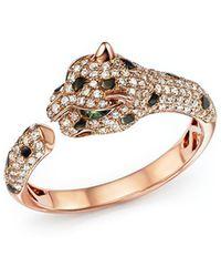 Bloomingdale's Diamond And Tsavorite Panther Ring In 14k Rose Gold - Metallic
