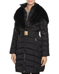 Laundry by Shelli Segal - Faux Fur Trim Belted Down Coat - Lyst