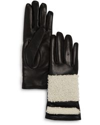 Bloomingdale's Shearling Trim Leather Gloves - Black