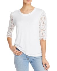Kim & Cami Lace - Sleeve Knit Top - White