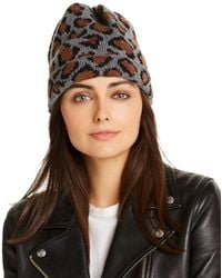 Aqua Leopard Pattern Beanie - Brown