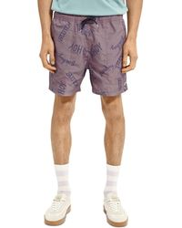 Scotch & Soda Printed Swim Shorts - Purple