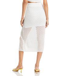 Aqua Amara Illusion Crochet Midi Skirt - White