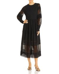 Aqua - Clip Dot Long Sleeve Midi Dress - Lyst