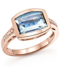 Bloomingdale's - Aquamarine And Diamond Statement Ring In 14k Rose Gold - Lyst