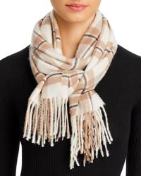 C By Bloomingdale's Check Cashmere Scarf - Natural