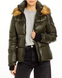 Aqua Gloss Allie Faux Fur Trim Puffer Jacket - Green