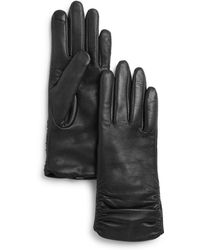 Fownes Metisse Ruched Leather Tech Gloves - Black