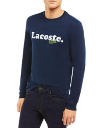 Lacoste Cotton Logo Graphic Tee - Blue