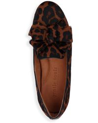 Gentle Souls by Kenneth Cole Eugene Bow Accent Leopard Print Calf Hair Flats - Brown