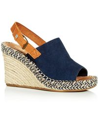 TOMS Women's Monica Slingback Wedge Espadrille Sandals - Blue