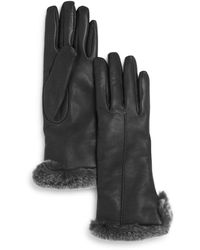 Bloomingdale's Rex Rabbit Fur Trim Leather Gloves - Grey