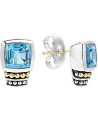 Lagos | 18k Gold And Sterling Silver Caviar Color Stud Earrings With Swiss Blue Topaz | Lyst