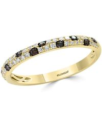 Bloomingdale's - White & Brown Diamond Stacking Ring In 14k Yellow Gold - Lyst
