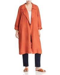 Eileen Fisher - Organic Linen Open Trench Coat - Lyst
