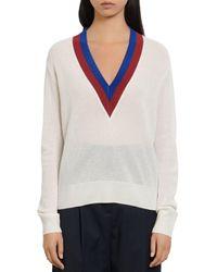 Sandro Shena Varsity - Style Sweater - White