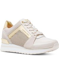 991ad4dffc81 MICHAEL Michael Kors - Billie Trainer Sneakers In Light Cream Diamond  Perforated Leather