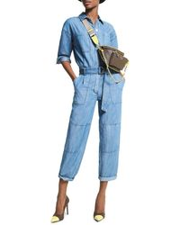 MICHAEL Michael Kors Chambray Belted Jumpsuit - Blue