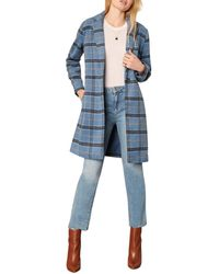 Cupcakes And Cashmere Robyn Plaid Print Coat - Blue