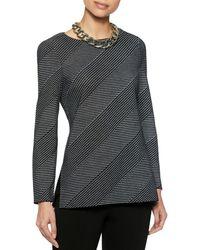 Misook Diagonal Stripe Knit Tunic - Black