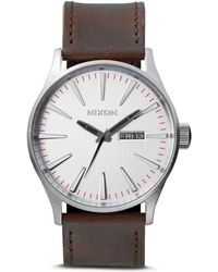 Nixon The Sentry Leather Strap Watch - Metallic