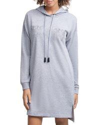DKNY Dripping Logo Hooded Sweatshirt Dress - Grey