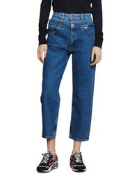 Sandro Kitty High - Rise Layer - Effect Jeans In Blue