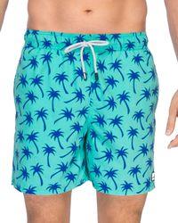 Tom & Teddy - Palm Print Swim Trunks - Lyst