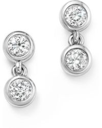 KC Designs - 14k White Gold Diamond Double Bezel Earrings - Lyst