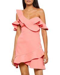 BCBGMAXAZRIA Malik Asymmetric Ruffle Off - The - Shoulder Mini Dress - Pink