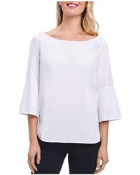 Foxcroft - Button-back Bell-sleeve Top - Lyst