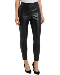 Vince Camuto Croc Embossed Faux Leather Pants - Black